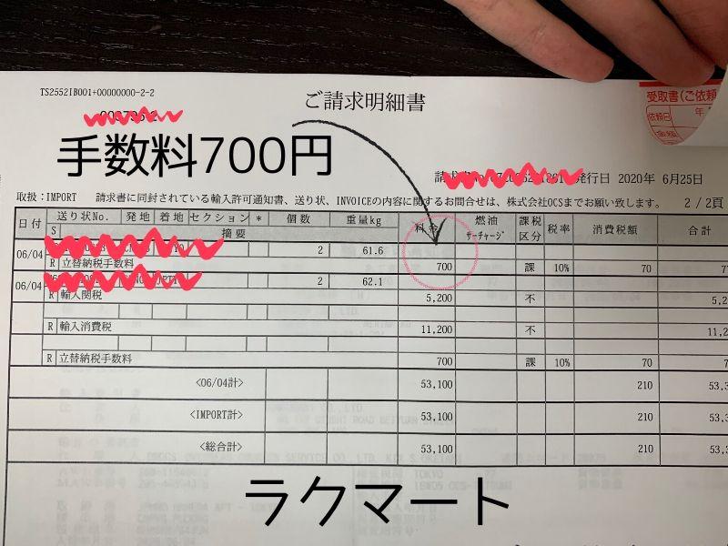 ラクマート 関税手数料